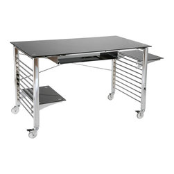Euro Style - Portable Computer Desk Cart w Black Glass Sur - Here's a stylish, ruggedly built computer desk that not only looks great, but conveniently rolls to where you need it on locking metal casters! The chromed steel frame is complemented by a black tempered printed glass top, keyboard tray & shelves. Multi-shelf design adds function to contemporary form. Black stained glass surfaces are strikingly paired with a gleaming metal frame. Solidly crafted with CPU and printer space, plus pullout keyboard tray. * Chromed steel baseTempered printed glass top, keyboard tray & shelvesExclusive metal casters (two locking)47 in. W x 25.25 in. D x 30.5 in. H