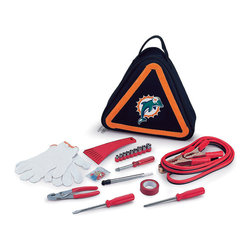 Picnic Time - Miami Dolphins Roadside Emergency Kit - Roadside peace of mind is possible with this team-themed emergency kit that includes essential tools like jumper cables, fuses, work gloves, a nine-piece ratchet set and more. The triangular-shape tote features easy carry handles and doubles as a reflective hazard warning sign.   Includes tote, set of jumper cables, ice scraper, tire pressure gauge, nine-piece ratchet set, pair of slip joint pliers, flat-head screwdriver, Phillips screwdriver, red electrical tape, 10 amp, two 15 amp and 20 amp automotive fuses, work gloves, and six ring and spade terminals Tote: 12'' W x 12'' H x 3.5'' D Jumper cables: 8.2' L Ratchet sockets: 3/16'' to 1/2'' Flat-head and Phillips screwdriver: 7.25'' L Tote: polyester Jumper cables: 15-gauge copper wire Ice scraper: plastic Gloves: cotton blend Spot clean Imported
