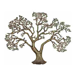 UMA - Farm Tree Modern Metal Wall Sculpture - A mighty tree stands alone with branches displayed in stark beauty