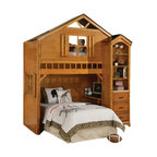 """Acme - Tree House Style Rustic Oak Finish Wood Kids Loft Bed Bunk Bed Set - Tree house style rustic oak finish wood kids loft bed bunk bed set. This set features a twin upper loft bed with an accent window in the front with a space for a lower twin bed with accent window on the frame, Side bookcase also included, and small desk shelf on the lower bunk area. Measures 88"""" x 54"""" x 88""""H. Side shelf unit measures 26"""" x 12"""" x 78""""H. Some assembly required."""