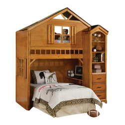"Acme - Tree House Style Rustic Oak Finish Wood Kids Loft Bed Bunk Bed Set - Tree house style rustic oak finish wood kids loft bed bunk bed set. This set features a twin upper loft bed with an accent window in the front with a space for a lower twin bed with accent window on the frame, Side bookcase also included, and small desk shelf on the lower bunk area. Measures 88"" x 54"" x 88""H. Side shelf unit measures 26"" x 12"" x 78""H. Some assembly required."
