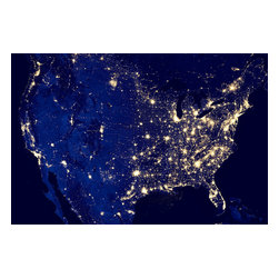"""City Lights of The United States 2012 Print - NASA image acquired April 18 - October 23, 2012This image of the United States of America at night is a composite assembled from data acquired by the Suomi NPP satellite in April and October 2012. The image was made possible by the new satellite's """"day-night band"""" of the Visible Infrared Imaging Radiometer Suite (VIIRS), which detects light in a range of wavelengths from green to near-infrared and uses filtering techniques to observe dim signals such as city lights, gas flares, auroras, wildfires, and reflected moonlight.""""Nighttime light is the most interesting data that I've had a chance to work with,"""" says Chris Elvidge, who leads the Earth Observation Group at NOAA's National Geophysical Data Center. """"I'm always amazed at what city light images show us about human activity."""" His research group has been approached by scientists seeking to model the distribution of carbon dioxide emissions from fossil fuels and to monitor the activity of commercial fishing fleets. Biologists have examined how urban growth has fragmented animal habitat. Elvidge even learned once of a study of dictatorships in various parts of the world and how nighttime lights had a tendency to expand in the dictator's hometown or province. Named for satellite meteorology pioneer Verner Suomi, NPP flies over any given point on Earth's surface twice each day at roughly 1:30 a.m. and p.m. The polar-orbiting satellite flies 824 kilometers (512 miles) above the surface, sending its data once per orbit to a ground station in Svalbard, Norway, and continuously to local direct broadcast users distributed around the world. Suomi NPP is managed by NASA with operational support from NOAA and its Joint Polar Satellite System, which manages the satellite's ground system. NASA Earth Observatory image by Robert Simmon."""