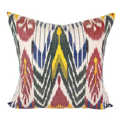 """Samarkand Sunset 20"""" Ikat Pillow Cover - P-A508 - Ikat pillow cover constructed from hand woven Ikat fabric from Uzbekistan. The beautiful bold colors on this pillow cover include blue, green, red, and yellow on a white background, conjuring up memories of traveling through Samarkand, one of the beautiful cites along the silk road in Uzbekistan."""