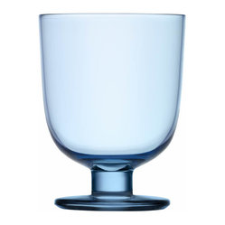 Iittala - Lempi Universal Glass, Set of 2, 10.5 Oz. Light Blue - Whatever your beverage of choice, this classic goblet makes a perfect vessel. A simple curved body on a sturdy pedestal is attractive and able to stand its ground when things get hectic at your table.
