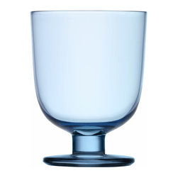 Iittala - Lempi Universal Glass 10.5 Oz. Clear, Light Blue - Whatever your beverage of choice, this classic goblet makes a perfect vessel. A simple curved body on a sturdy pedestal is attractive and able to stand its ground when things get hectic at your table.
