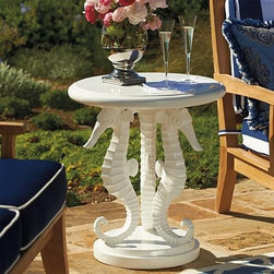 Frontgate - Seahorse Outdoor Side Table in White, Patio Furniture - How about a seahorse side table for the backyard? It's fun and functional at the same time.