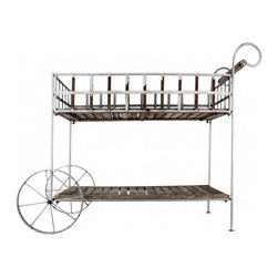Garden Cart - Vintage garden cart is a great decorative piece for your garden... or kitchen.... and very useful! With chippy French gray paint and a wooden handle.