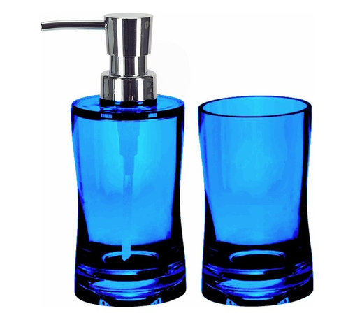 Modern Bathroom 2 Piece Accessory Set, Blue - Colorful acrylic soap and lotion dispenser plus tumbler - 2 piece bathroom accessories set. Contemporary semi transparent hourglass shape. Impact resistant countertop accessories with bright beautiful color options. Stronger than glass and just as beautiful.  Made in Germany. Tumbler (W) 2.5in x (H) 4.75in ; Dispenser (W) 2.5in x (H) 6.75in