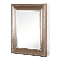 Pegasus - 20in.  x 26in.  Recessed or Surface Mount Mirrored Cabinet, Brushed Nickel - 20 in. x 26 in. Recessed or Surface Mount Mirrored Medicine Cabinet with Deco Framed Door in Brushed Nickel