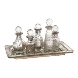 Crystal Globe Mini Bottles w/ Tray - Set of 6 Mercury Glass - *With crystal inspired globe finials, this six piece Macaire set features a mercury glass look with subtle etched details in various intriguing shapes.