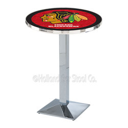 Holland Bar Stool - Holland Bar Stool L217 - Chrome Chicago Blackhawks Pub Table - L217 - Chrome Chicago Blackhawks Pub Table  belongs to NHL Collection by Holland Bar Stool Made for the ultimate sports fan, impress your buddies with this knockout from Holland Bar Stool. This L217 Chicago Blackhawks table with square base provides a commercial quality piece to for your Man Cave. You can't find a higher quality logo table on the market. The plating grade steel used to build the frame ensures it will withstand the abuse of the rowdiest of friends for years to come. The structure is triple chrome plated to ensure a rich, sleek, long lasting finish. If you're finishing your bar or game room, do it right with a table from Holland Bar Stool.  Pub Table (1)