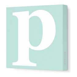 "Avalisa - Letter - Lower Case 'p'  Stretched Wall Art, 12"" x 12"", Sea Green - Spell it out loud. These lowercase letters on stretched canvas would look wonderful in a nursery touting your little one's name, but don't stop there; they could work most anywhere in the home you'd like to add some playful text to the walls. Mix and match colors for a truly fun feel or stick to one color for a more uniform look."