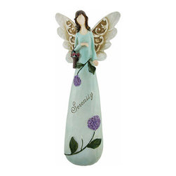 Lovely `Serenity` Lilac Flowers Fairy Figure Blue - This beautiful fairy figure is a wonderful expression of peaceful bliss. The lovely butterfly-winged fairy holds a basket of flowers as she peacefully glides through the garden. She wears a long blue gown with purple lilac flowers wrapped around and the word `Serenity` printed neatly across its center. Made from cold cast resin, the charming figure stands 11 inches tall, 5 inches wide, and 2 1/2 inches deep. This statue looks fabulous as a harmoniously soothing home accent and makes a great gift as a sign of blissful affection for a dear friend.