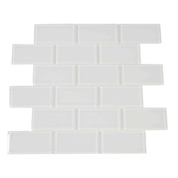 "Spa Glass - White 2X4 Subway Glass Tile, White, 2x4, Carton - CARTON of White 2X4 subway glass tile consisting of 20 square feet or sheets. This tile is manufactured in a thinner 1/8 inch thick format and is a high quality ""POOL RATED"" glass subway tile that is perfect for a kitchen backsplash, bathroom tile, shower tile or pool tile. Because the tiles are thinner and come mesh mounted in a staggered interlocking brick pattern, installation is much easier and much less expensive. The thinner profile eliminates the need for tear outs or large demolitions. You can tile over existing materials and eliminate installation cost ( think DIY).These are a very high grade glass subway tile kilned at 800 Celsius for maximum durability and come with a baked polypropylene backing which reflects the color back thru a very clear glass.  The tiles come in a 12X12 inch sheet consisting of 18 tiles 2X4 inches in size.  They come in boxes of 20 square feet or 20 sheets. There is also a SAMPLE option so you can confirm the color is perfect for your space. The Price listed is for a single CARTON OF 20 SQUARE FEET."