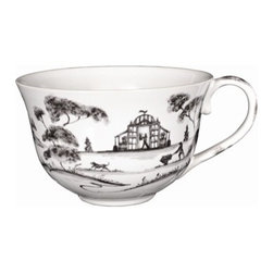 """Juliska - Juliska Country Estate Tea-Coffee Cup Flint Garden Follies - Juliska Country Estate Tea/Coffee Cup Flint Garden FolliesAdmit to a modicum of Prejudice but remain devotedly Prideful in charming teacup that evokes positively romantic Senses and Sensibilities. Open the gate to an English garden ��_ la Mansfield Park, sit in the shade with your cup of tea, and enjoy the verdure, for the most perfect of life's refreshments. Featuring: Tea Party Tent, Reading Pavilion, and ConservatoryDimensions: 4.5"""" W x 3"""" H Capacity: 8 oz"""
