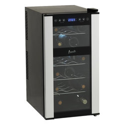 Avanti - 18 Bottle Dualzone wine cooler - Dual zone wine chiller, holds 18 bottles, 6 in upper zone, 12 in lower zone, integrated soft touch controls with electronic display and panel lock feature, full range temperature control with F/C control for ideal conditions, Thermopane glass door with platinum finish accents, soft interior LED lighting for each section with ON/OFF switch, Slide-out chrome shelves, Stat of the art thermoelectric technology, unit dimensions 26.25x13.75x19.5