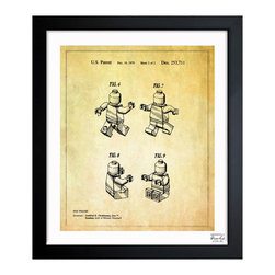 "The Oliver Gal Artist Co. - ''Lego Toy Figure #2 1979' 15""x18"" Framed Art - Exclusive blueprints inspired by real vintage patent drawings & illustrations. Handcrafted in the Oliver Gal Artist Co. Studios in Miami, Florida. Produced on matte proofing paper and hand framed by professional framers in a 1.2"" premium black wood frame. Perfect for any interior design project, gifts, office décor, or to add special value to one of your favorite collections."