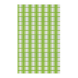 Bambeco Plaid Light Green Rugs - Go mad for plaid Add a dash of sustainable color to your life with the classic styling of the Plaid Light Green Rug. These durable and surprisingly soft woven polypropylene rugs are crafted from recycled soda bottles, milk jugs and packaging materials. The multi-colored threads are woven the same way as a fabric flat-weave rug for warmth, depth of color and amazing feel. The result is a durable, colorful, stylish rug that can be used outdoors and can be rinsed off with a garden hose; won't mildew or cause rot in a wooden deck. The Plaid Light Green Rug is made in a fair trade facility that produces no environmentally harmful waste.  Dimensions: 5'W x 8'L  Care: Mild soap as needed, hose off with water