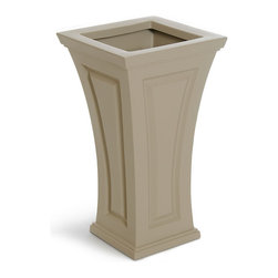 Mayne Inc. - Cambridge Tall Planter Clay - The Cambridge planter offers a blend of modern and traditional design.  The curved shape creates a unique and classy look providing a beautiful accent to the entrance of any home. Single wall molded design, made with high-grade polyethylene. Self watering tray insert creates sub-irrigation water system and encourages root growth. The tray can be reversed to support a potted plant or removed so the planter can be completely filled with soil. Drainage holes to be pre-drilled by customer depending on desired use of the planter. Opening Dimension is 11in x 11in.  Approximately 8 gallon soil capacity, 6.5 gallon water capacity. 15-year limited warranty.