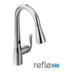 """Moen - Moen 7594E Single Handle Pullout Spray Kitchen Faucet with MotionSense and Refle - Product Features: Faucet body constructed of metal to ensure durability and dependabilityCovered under Moen's limited lifetime faucet warrantyFinishes resist corrosion and tarnishing through everyday use - finish covered under lifetime warrantyThe Arbor Collection delivers streamlined and timeless transitional styling that meets aesthetic and functional demands making it extremely flexible and user friendlyMoen sets the standard for exceptional beauty and innovative reliable designSingle handle operation for ease of usePullout spray faucet head with 68"""" hose enhances faucets versatilitySpout swivels 360-degrees providing greater access to more areas of the sinkHigh-arch gooseneck spout design provides optimal room under the faucet for any size taskADA compliantLow lead compliant - faucet meets federal and state regulations for lead contentEco-friendly product � using at least 30% less water than standard 2.2 GPM faucets, while still meeting strict performance guide linesProduct Technologies / Benefits: MotionSense: With this innovative technology you can control the flow of water without ever touching the faucet. There are three �hot-spots� on the faucet: one on the top, one under the faucet outlet, and one on the handle; wave your hand across any of these sensors and the faucet turns on, wave again to turn it off. Hands-free faucets mean less cleaning, and they help to control the spread of germs.Reflex™: A technological innovation created based on  input from actual faucet users, Reflex™ is made to work the way you do.  Featuring exceptional range of motion, the spray wand on Reflex™ faucets  swivels to optimize maneuverable range. Only pulldown faucets with the  Reflex™ system will retract back to the docked position from any  distance without assistance. Compared to other pulldown designs Reflex™  will also make the spray head up to 40% easier to unlatch.Duralast Cartridge:"""