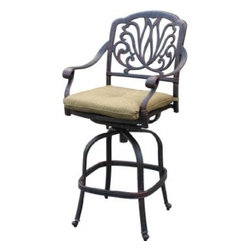 darlee - Elisabeth Cast Aluminum Patio Swivel Bar Stool - Antique Bronze - Cast aluminum frame is rust resistant
