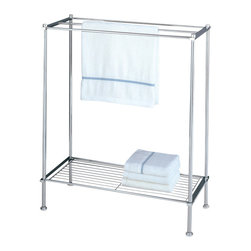 "Organize It All Inc. - Metro Towel Rack - This attractive chrome finished towel stand can provide you with just that extra organization space you need.  Their profile is great when space isnt plentiful and makes every inch count with the addition of a useful bottom shelf.  Maximize your bathrooms nooks and crannies and store extra towels and toiletries where theyre easy to reach and use. Dimensions: 24.375""L x 11.625""W x 29.5""H"