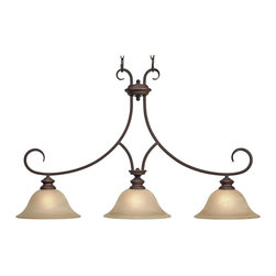Golden Lighting - Lancaster Island Light - Don't get strung up. With this elegant, dual-chain canopy, you have abundant lighting without interference. Meticulously crafted with marbled glass and a spectacular finish. Light and luster, here's your cue.