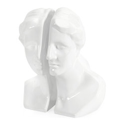 iMax - iMax White Greek Lady Bookends - Set of 2 X-2-05035 - This set of classily sculpted bookends will put a face to your favorite heroine as they hold up your story time classics from Dickens to Bronte.