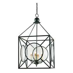 Currey & Company - Beck more Lantern - A delightful 4 light lantern comes with seeded glass panels that give it a special appeal. The wrought iron framework is finished in old iron. The hand finishing process used on this chandelier lends an air of depth and richness not achieved by less time-consuming methods. The Lillian August Collection.