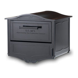 Geneva Locking Mailbox - The Geneva Locking Mailbox combines an understated Swiss-inspired design with a locking rear access door and a parcel delivery door that is large enough for small packages. Accented with beautifully intricate cast scrolls, this mailbox is constructed of die cast aluminum and galvanized steel and is fully powder coated prior to assembly to prevent corrosion and withstand the harshest weather conditions.
