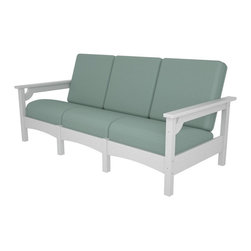Polywood - Club Sofa in White - Expand the seating options in your outdoor sitting area with this roomy sofa. Built with solid recycled lumber that provides the look of painted wood without the maintenance. Polywood lumber requires no painting, staining, waterproofing, or similar maintenance. Polywood lumber does not splinter, crack, chip, peel or rot and it is resistant to corrosive substances, insects, fungi, salt spray and other environmental stresses and also resists stains associated with wine and condiments. Accented with contoured cushions that resist weather, salt, sun and mildew, this sofa is designed for long-term durability, exceptional good looks and extremely low maintenance.