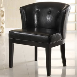 Armen Living - Ovation Tufted Midnight Black Leather Stationary Club Chair - Tufted black leather, solid wood frame club chair w/ rich ebony finished legs. Works wonders in a living room, family room or office.