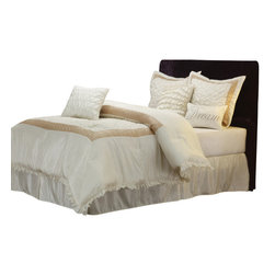 Dream Bedding Set - King - The Dream Bed Set offers you a contemporary look that cultivates an atmosphere of peace and tranquility. It features a soothing white and taupe color arrangement that will promote a deep relaxing sleep. This set includes a comforter, bed skirt, two pillow shams, and three different types of throw pillows.