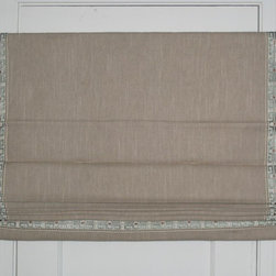 Roman Shades - Custom outside-mount Roman Shade in flax linen with picture frame banding, 3 fixed folds, and cotton lining