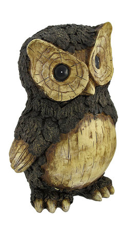 Zeckos - Rustic Carved Wood Look Owl Statue Figure 10 Inches Tall - Made of cold cast resin, this beautiful owl statue looks like it is hand carved from a fallen log. Measuring 10 1/4 inches tall, 7 inches wide, and 6 1/2 inches deep, the body feathers look like tree bark, and the face and breast look carved. It makes a great gift for owl lovers.