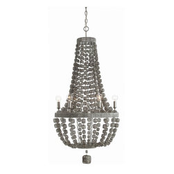 Arteriors - Jada Chandelier - Weathered metal 6-light chandelier in a matte silver finish features strands of wire wrapped wooden beads. Max Wattage (per socket): 25. Hardwire. UL Listed, bulb not included, wired for 110-120v. Installation required.