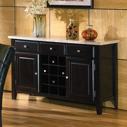"""Steve Silver - Monarch Marble Top Wine Rack/ Server - The Monarch marble-top server offers stylish looks and functional storage in the way of three drawers, two doors, and wine bottle storage.;Features: Multi-Step Black Finish;Contemporary Style;Corner Block Construction on Chairs and Table;Tongue and Groove Joints;Weight: 161.5 lbs.;Dimensions: 56""""L x 18""""W x 34""""H"""