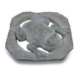 Zeckos - Cement Frog Weathered Finish Stepping Stone/Garden Plaque - Add a decorative and unique accent to your garden, flower bed, porch or patio with this cast cement 11 inch long, 11 inch wide, 1 inch deep (28 X 28 X 3 cm) stylized frog plaque With a hand-painted textured weathered finish, it'd look amazing on an exterior wall, or use it as a stepping stone in your pathway, too It's a beautiful highlight for your space whether indoors or out, and it makes a wonderful gift any frog lover is sure to enjoy