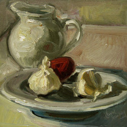 Red Onion Hiding Behind Garlic (Original) by Carol Steinberg - Study of Whites, with a little spice thrown in