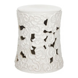 Safavieh - Sassari Garden Stool - Intricately detailed, the Sassari Garden Stool is crafted of high fired ceramic with lustrous white glazed finish. Used in Chinese gardens for centuries as a gazing perch, this stool motif of stylized swirling clouds adds texture and visual interest indoors or out as a side table or spare seat.