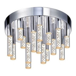 """Champagne Staccato 12"""" LED Flush Mount - The Champagne Staccato 16-Light LED Flush Mount by Sonneman has been designed by Robert Sonneman.The Champagne Staccato 16-Light LED Flush Mount consists of 16 LED wands arranged on a circular ceiling light at varying lengths. Each wand contains an LED lamp, softly diffused by a clear, acrylic cylinder filled with small bubbles. The effect is 16 illuminated diffusers that evoke the playfulness and elegance of champagne. Dimmable with ELV or standard (TRIAC) incandescent dimmer.  Product description:  The Champagne Staccato 16-Light LED Flush Mount by Sonneman has been designed by Robert Sonneman.The Champagne Staccato 16-Light LED Flush Mount consists of 16 LED wands arranged on a circular ceiling light at varying lengths. Each wand contains an LED lamp, softly diffused by a clear, acrylic cylinder filled with small bubbles. The effect is 16 illuminated diffusers that evoke the playfulness and elegance of champagne. Dimmable with ELV or standard (TRIAC) incandescent dimmer.  Details:      Manufacturer:     Sonneman      Designer:    Robert Sonneman        Made in:    USA        Dimensions:     Diameter: 12"""" (30.5cm) X Height:6.75"""" (17.15 cm)          Light bulb:  6 X LED Max 30W Overall Wattage        Material:      aluminum, metal, acrylic, polymer"""