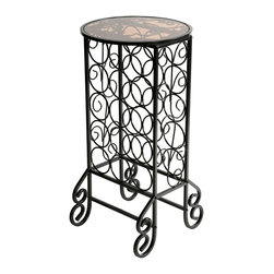 """Holly & Martin - Holly & Martin Monterey Glass Top Wine Table X-10-3-260-171-10 - Designed to please any wine connoisseur, this elegant scrolled iron wine rack holds up to 15 bottles of your finest selections. Perfect for entertaining or just everyday convenience, the wonderful tabletop design can be used for serving or display of any decorative glass set. Finishing the scrolled black frame is a piece of smoked glass that is inlaid in the circular top. Whether novice or aficionado, this decorative wine rack is sure to add to your collection.     - 16.5"""" W x 16.5"""" D x 33"""" H                                                                             - Painted black finish                                                                                  - Holds up to 15 bottles of wine                                                                        - Tempered and smoked glass top                                                                         - Assembly required"""