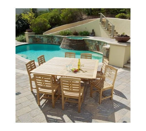 Eureka Hard Wood Patio Dining Set - Seats 8 - Throw elegant modern dinner parties with the Eureka Hard Wood Patio Dining Set - Seats 8. Crafted from renewable eucalyptus wood, this handsome patio dining table offers the best in modern style and environmentally friendly practices. This large, square table features a tasteful slatted aesthetic that opens any garden, deck or patio with it's bright, inviting hue. The included eight armchairs make this patio dining set great for dinner parties or big families.About Best Selling Home Decor Furniture LLCBest Selling Home Decor Furniture LLC is a US-based company dedicated to providing you with a wide variety of fine furniture. With sales and manufacturing offices in Europe and China, as well as the ability to ship to anywhere in the world, no one is excluded from bringing these lovely pieces home. From outdoor to indoor furniture, children's furniture to ottomans and home accessories, all your needs will be met with attractive, high quality products that will last.