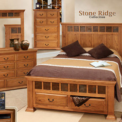 Artisan Home Furniture - Artisan Home Stone Ridge 5 Piece Storage Panel Bedroom Set - Long lasting American oak gives beauty and durability for years to come. Gives protection and adds depth and character to the wood. Detailed antiquing process including wood distressing and hand applied dry brushing burnt edges. Provides additional strength on drawers. Makes sturdy and durable quality cases. Ensures a smooth glide and easy operation. Easy  smooth drawer access and full view. Eleven drawers for ample storage.
