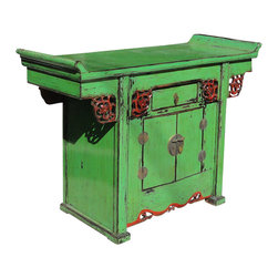 Golden Lotus - Oriental Green Lacquer Altar Console Side Table - This is an oriental style altar side table with point edge table top and scroll pattern around the apron. There are a drawer and two doors with round moon face hardware. The surface is painted with green lacquer and red accent on the dragon scroll pattern.