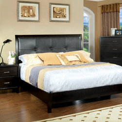 Furniture of America - Furniture of America Chester 3-piece Queen-size Bed with Nightstand and Chest Se - The Chester bedroom set features clean lines and a framed upholstered headboard with button-tufted design. This set can bring soft sophistication to your bedroom.