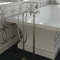 Moen Weymouth Two-Handle Tub Filler Brushed Nickel - Elegant, traditional design details and distinctive finishing touches present a sense of uncommon luxury in the Weymouth collection.