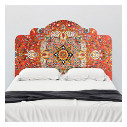 WallsNeedLove - Vintage Rug Adhesive Headboard Wall Decal - It's a headboard, it's a rug. . . no! It's a wall decal! This versatile piece will bring fun and color to any room. This adhesive headboard is designed to dramatically change the look and feel of your bedroom without the permanency of paint or the bulk of traditional frames. Simply peel and stick your way to a unique new you.