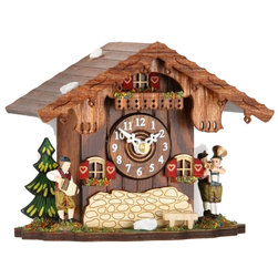 HOK Concepts - Black Forest Mantel Clock with Hourly Cuckoo Chime - Oompah Band - Tabletop Cuckoo Clock featuring a German Oompah Band in Traditional Bavarian Clothing. The clock has a high quality German quartz-movement and a wooden dial. A cuckoo sound with echo announces each hour.