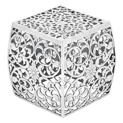 Benzara - Metal Stool with Cube Shaped and Intricate Design - Beautifully designed with checks pattern, this aluminum stool looks marvelous in a trendy and sportive design. Perfectly shaped in a cube shape, the spacious top surface is both convenient and comfortable to sit. Its blunt-edged corners provide better safety for kids and elders as well. Made of aluminum, its highly durable construction ensures long life span. It is highly resistant to corrosion and deterioration against the weather conditions due to the natural elements. Waterproof and rust-resistant, it is suitable for any outdoor area such as patio, porch, or garden. It is easy to clean, requires little maintenance, and is sure to last longer for years to come. Shining with a shimmering gleam, it also adds great decor to your living room. Arrange these wonderful stools around a table and invite your guests and friends for a chat or enjoy a starry night with your family on the lawn..